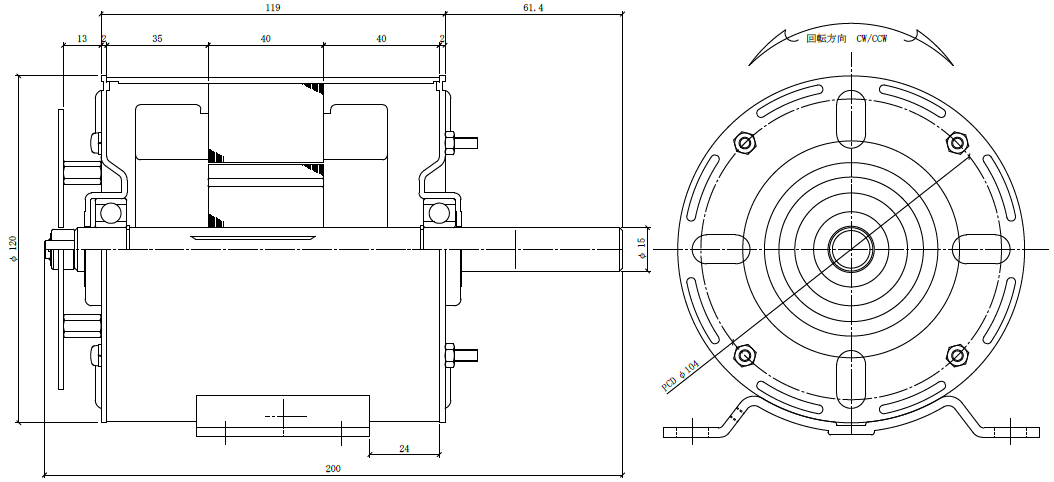 DC-IPMモータ|φ115-IPM|外形寸法図