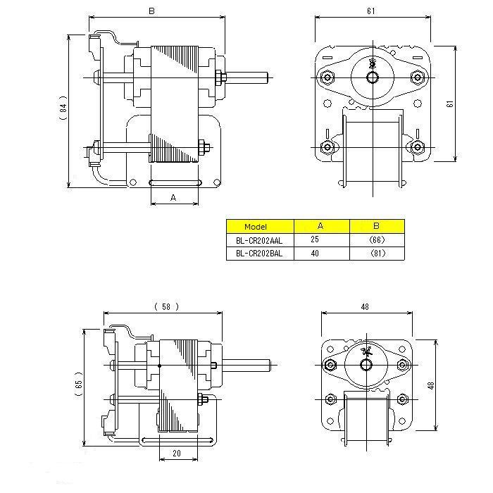 DCブラシレスモータ|2相ブラシレスモータ|外形寸法図
