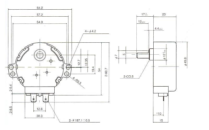 同期モータ|同期モータ 薄型ギアタイプ|外形寸法図