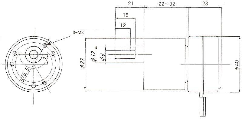 同期モータ|同期モータ 丸型ギアタイプ|外形寸法図