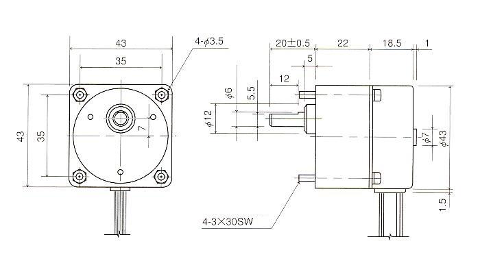 同期モータ|同期モータ 角型ギアタイプ|外形寸法図