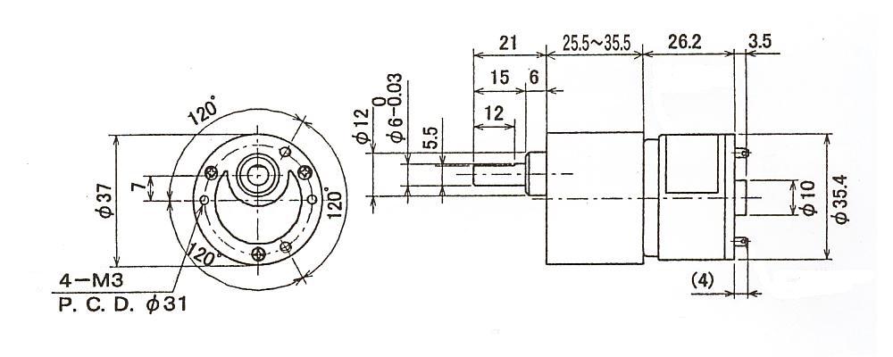DCギアモータ|DTP353B-TMT|外形寸法図