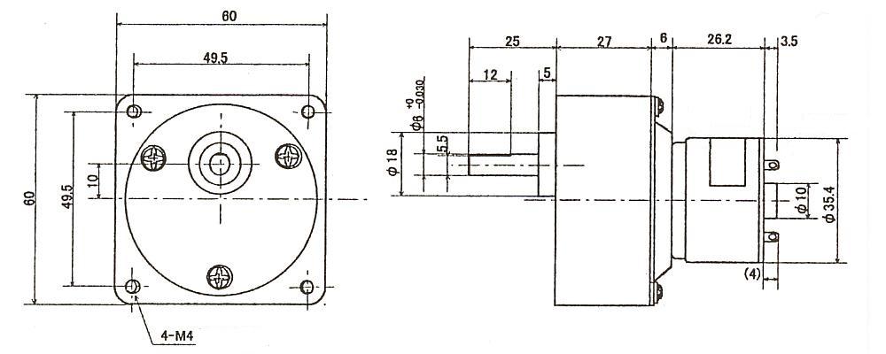 DCギアモータ|DTP353A-TE|外形寸法図
