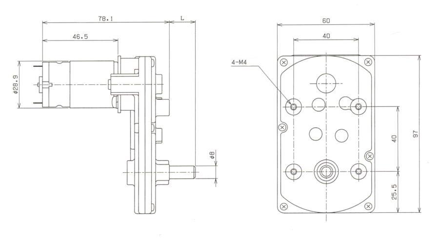 DCギアモータ|DKC295-EM|外形寸法図