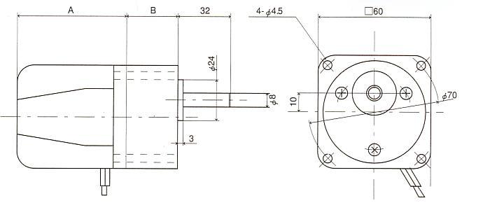 インダクションギアモータ|6H|角型ギアタイプ|外形寸法図