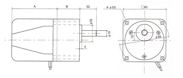 インダクションギアモータ|8H|角型ギアタイプ|外形寸法図