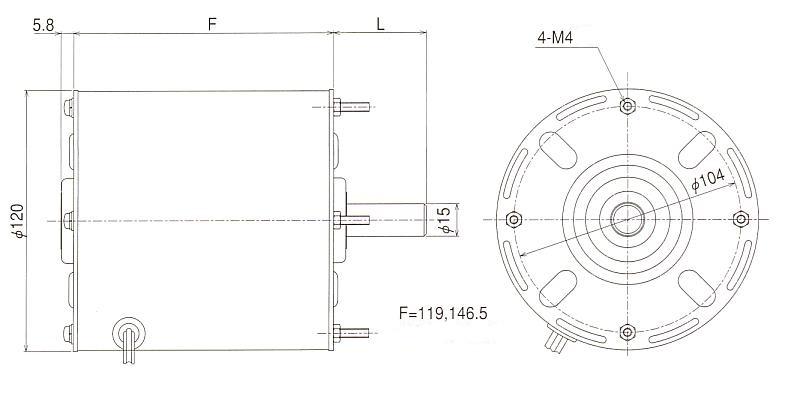 3相インダクションモータ EL 外形寸法図