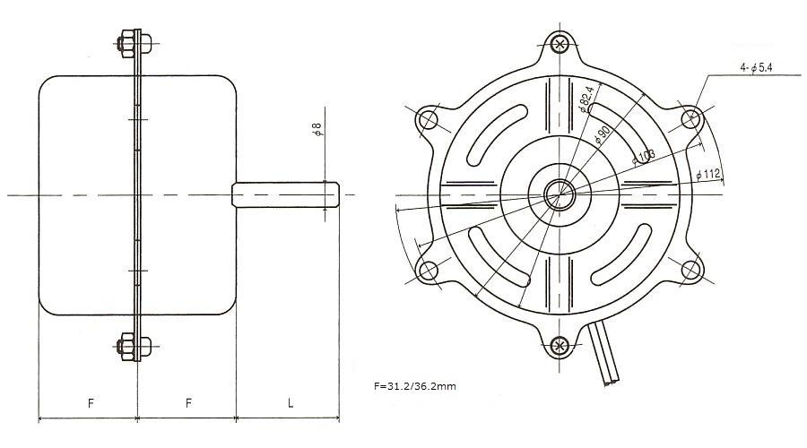 コンデンサモータ|FK|外形寸法図