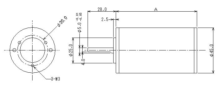 DCブラシレスモータ|小型3相ブラシレスモータ|外形寸法図