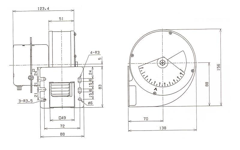 シロッコファン|120B|外形寸法図