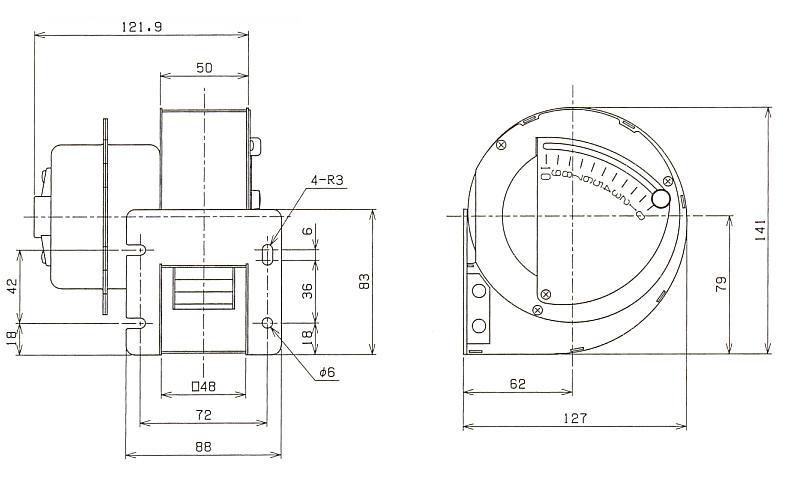 シロッコファン|106B|外形寸法図