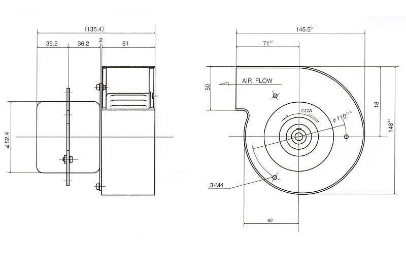 シロッコファン|100B|外形寸法図