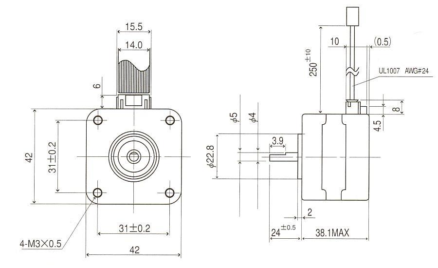 ステッピングモータ|17PM-K301-07V|角型タイプ|外形寸法図