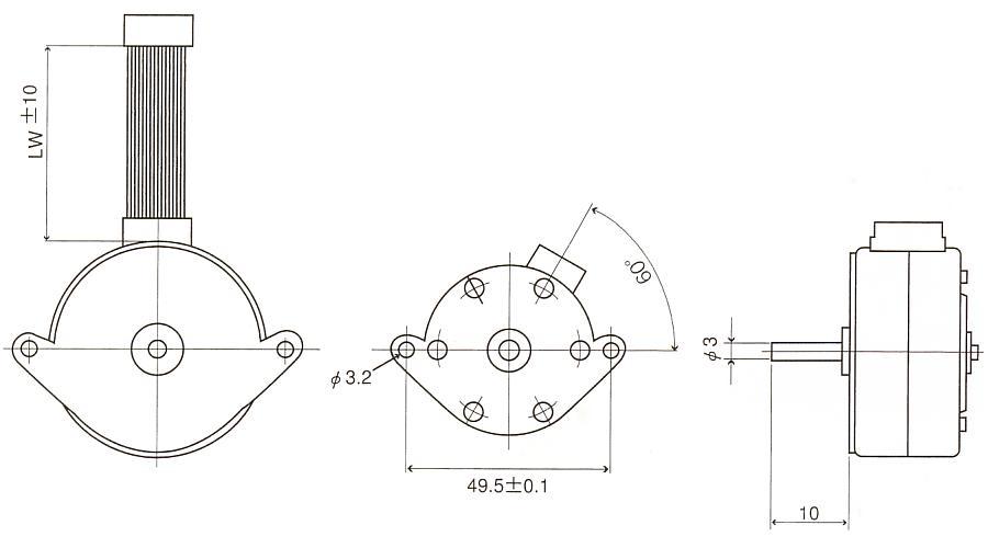 ステッピングモータ|17PM-K301-07V|丸型タイプ|外形寸法図