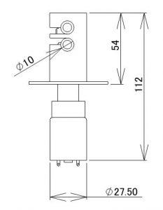 デバイス関連|モータ式ピンチバルブ (PATENTS.P)|外形寸法図
